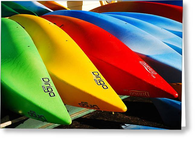 Greeting Card featuring the photograph Kayaks Await by James Kirkikis