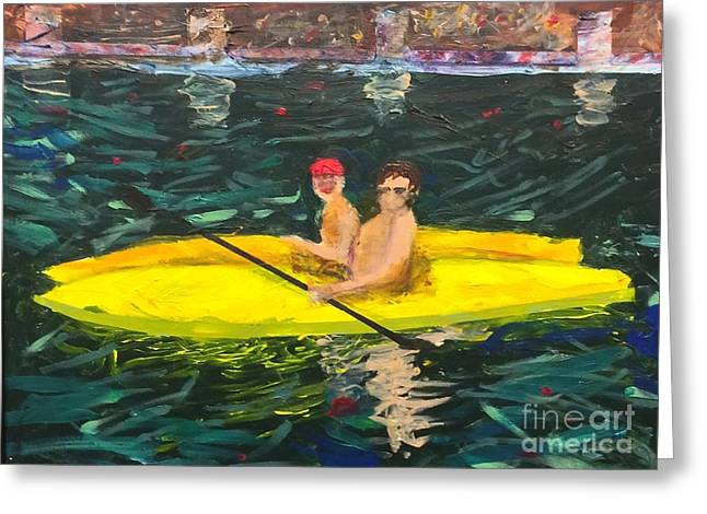 Greeting Card featuring the painting Kayaks by Donald J Ryker III