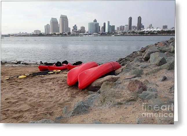 Kayaks On Coronado Island Overlooking The San Diego Skyline 5d24368 Greeting Card by Wingsdomain Art and Photography