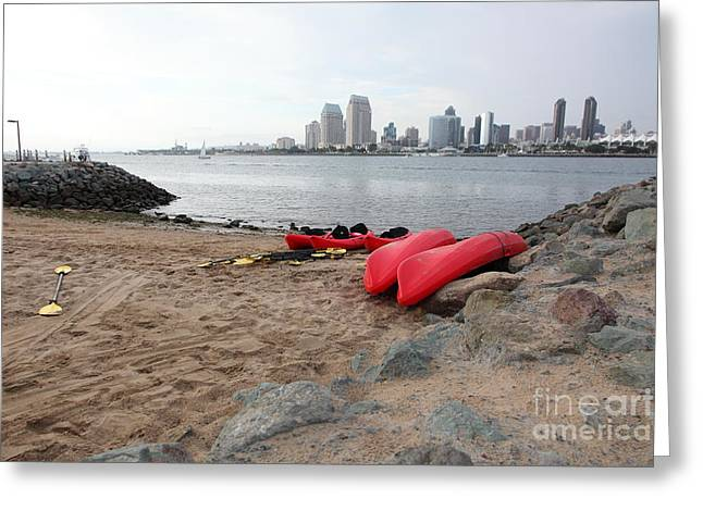 Kayaks On Coronado Island Overlooking The San Diego Skyline 5d24369 Greeting Card by Wingsdomain Art and Photography