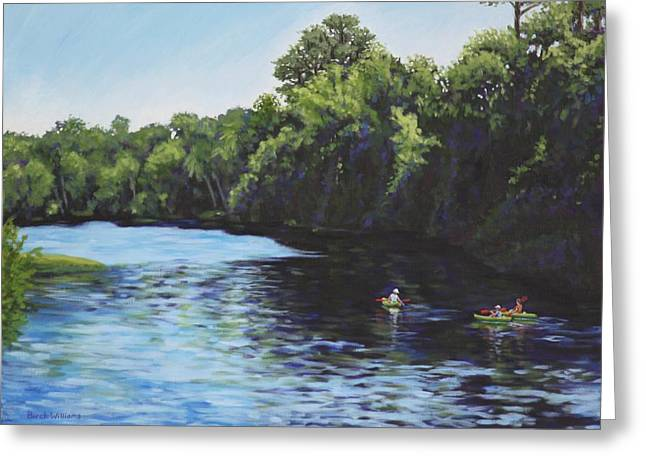 Greeting Card featuring the painting Kayaks On Rainbow River by Penny Birch-Williams