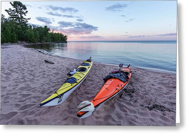 Kayaks On Sand Beach At York Island Greeting Card by Chuck Haney