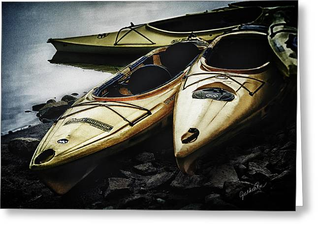 Kayaks On The Bank Greeting Card by Cynthia Roe