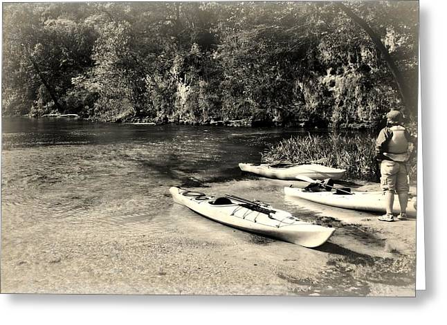 Kayaks On The Current Greeting Card by Marty Koch