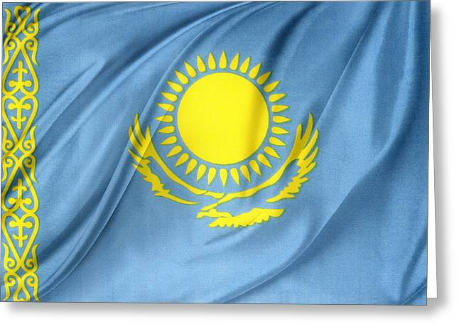 Kazakhstan Flag Greeting Card by Les Cunliffe