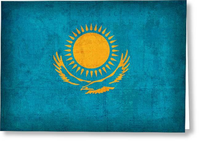 Kazakhstan Flag Vintage Distressed Finish Greeting Card by Design Turnpike