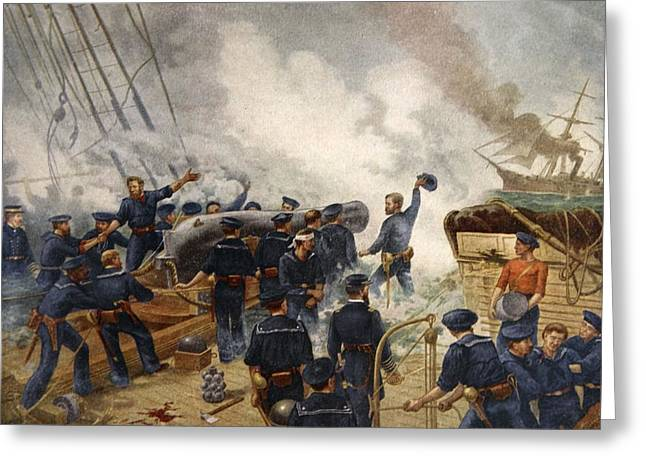 Kearsage Sinking The Alabama, June 19th Greeting Card by Henry Alexander Ogden