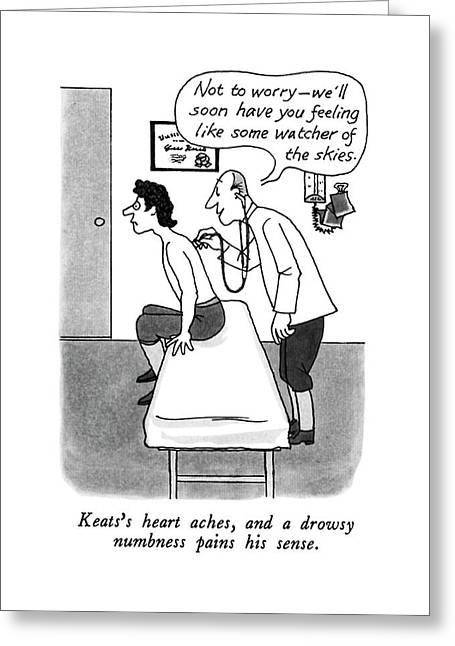 Keats's Heart Aches Greeting Card by J.B. Handelsman