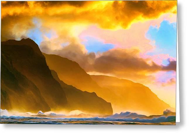 Ke'e Beach Sunset Greeting Card