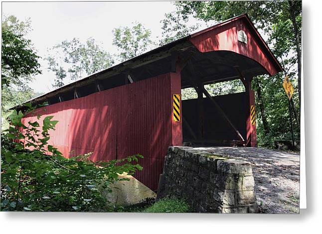 Keefer Station Covered Bridge Greeting Card by Gene Walls