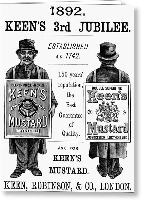 Keen's Mustard Ad, 1892 Greeting Card by Granger