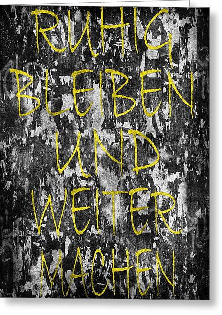 Keep Calm And Carry On German Greeting Card