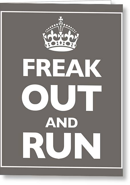 Keep Calm And Carry On Parody Brown Greeting Card by Tony Rubino