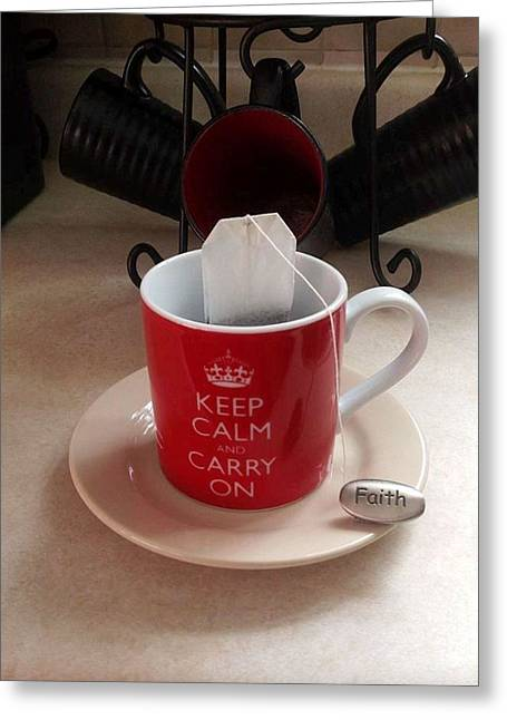 Keep Calm And Carry On Greeting Card by Deborah Finley
