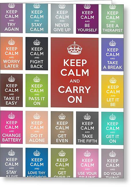 Keep Calm Classic Collage Greeting Card by Helena Kay