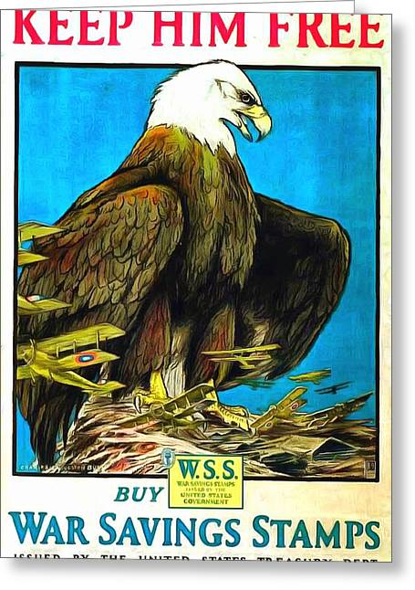Keep Him Free Greeting Card by US Army WW 1 Recruiting Poster