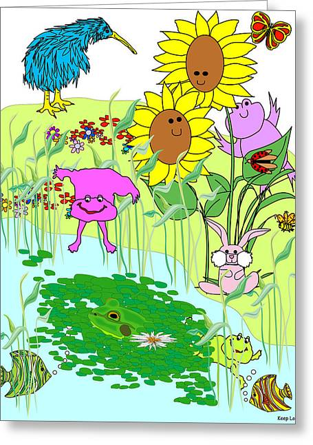Keep Looking1 - Jumping In Greeting Card by Chris Morningforest