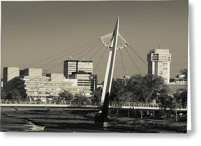 Keeper Of The Plains Footbridge Greeting Card by Panoramic Images