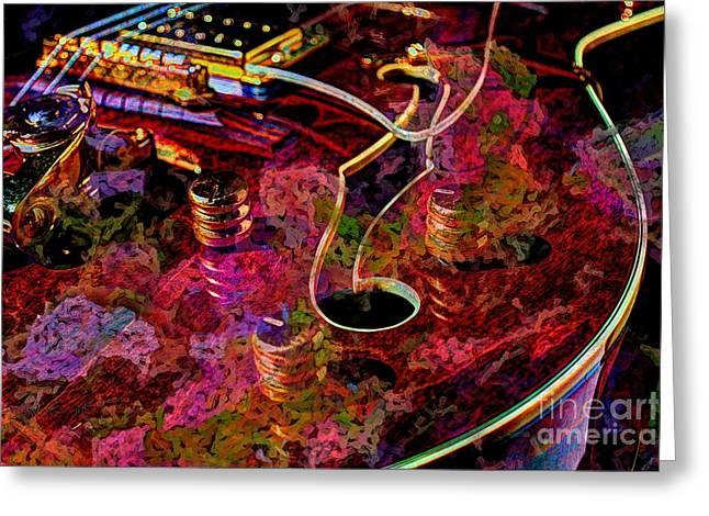 Keeping In Tune Digital Guitar Art By Steven Langston Greeting Card by Steven Lebron Langston
