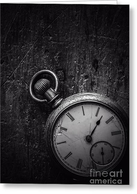Keeping Time Black And White Greeting Card by Edward Fielding