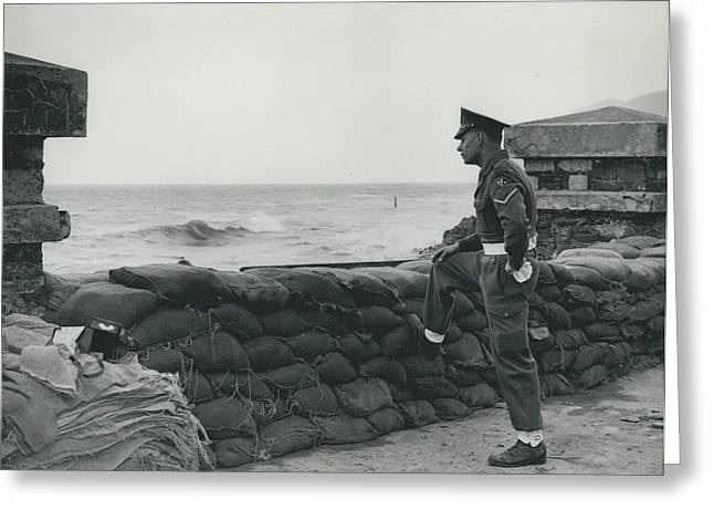 Keeping Watch On The High Tides At Lyn Mouth Greeting Card by Retro Images Archive