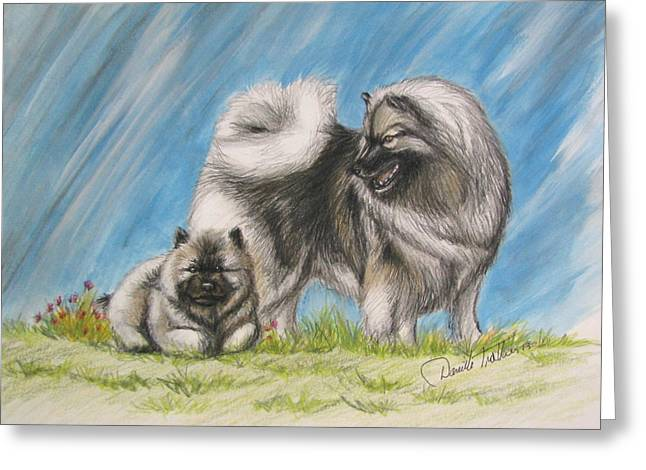 Keeshond With Pup Greeting Card by Daniele Trottier