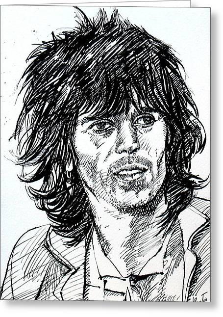 Keith Richards Black Ink Portrait Greeting Card