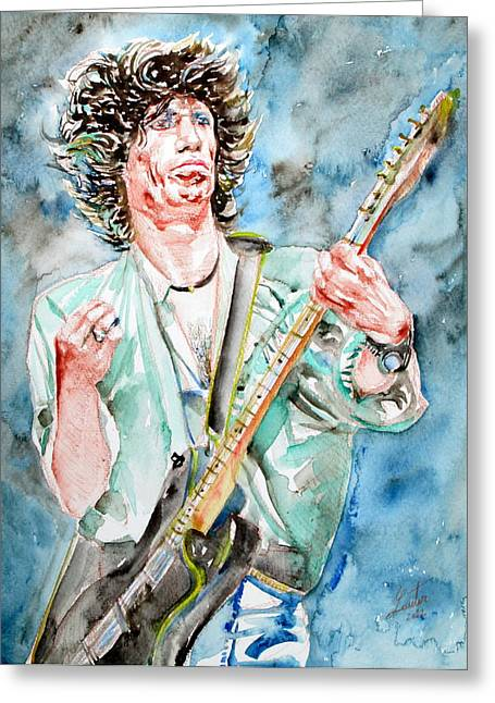 Keith Richards Playing The Guitar Watercolor Portrait Greeting Card
