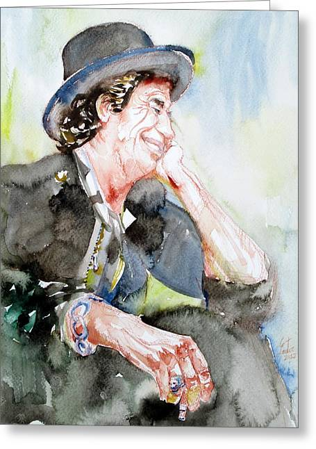 Keith Richards Sitting With Cigarette And Smiling Watercolor Portrait Greeting Card