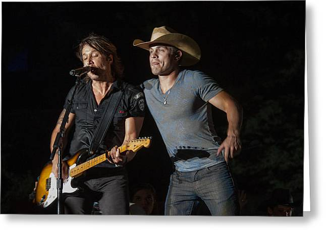 Keith Urban And Dustin Lynch Greeting Card by Mike Burgquist