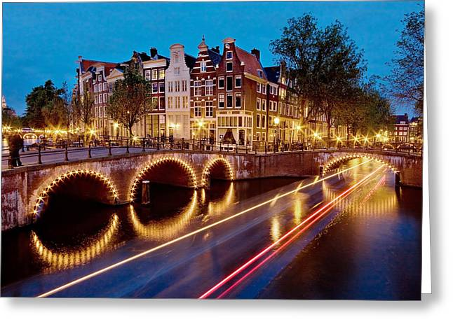 Keizersgracht Canal At Night / Amsterdam Greeting Card by Barry O Carroll
