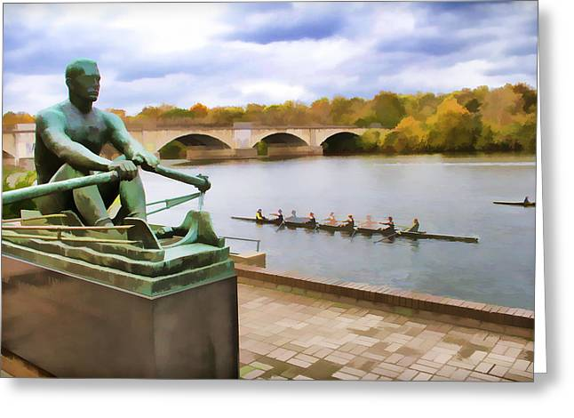 Kelly At The Oars Greeting Card by Alice Gipson