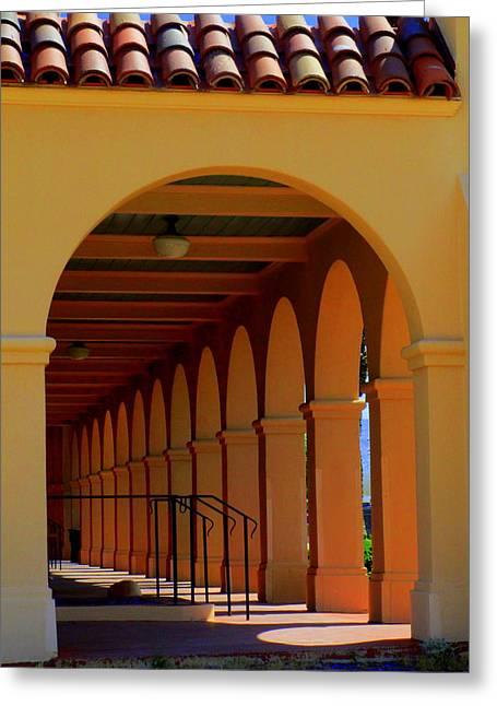 Kelso Depot Arcade Greeting Card by Randall Weidner