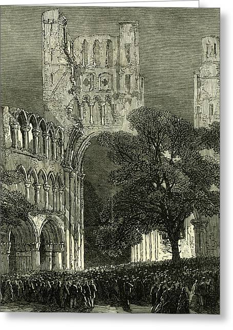 Kelso U.k. 1867 Kelso Abbey Illuminated By The Lime-light Greeting Card