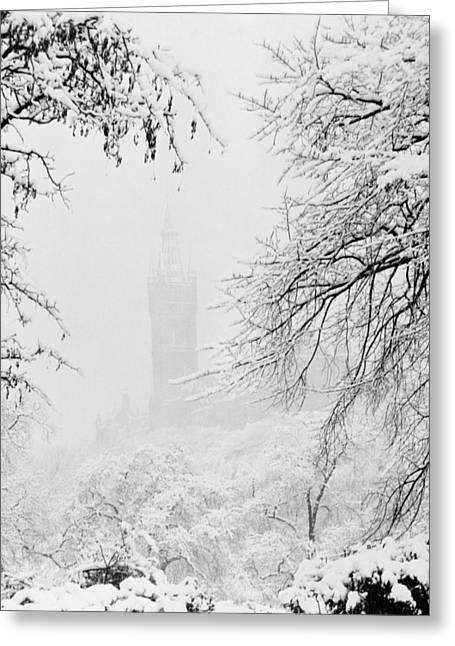 Kelvingrove Park In The Snow, 1955 Greeting Card