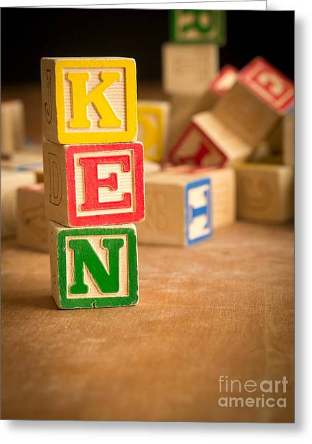 Ken - Alphabet Blocks Greeting Card by Edward Fielding