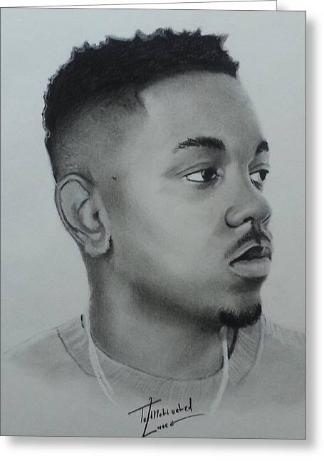 Kendrick Lamar Charcoal Greeting Card by Lance  Freeman