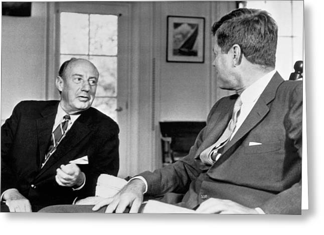 Kennedy And Adlai Stevenson Greeting Card by Underwood Archives