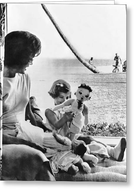 Kennedy Family At Palm Beach Greeting Card by Underwood Archives
