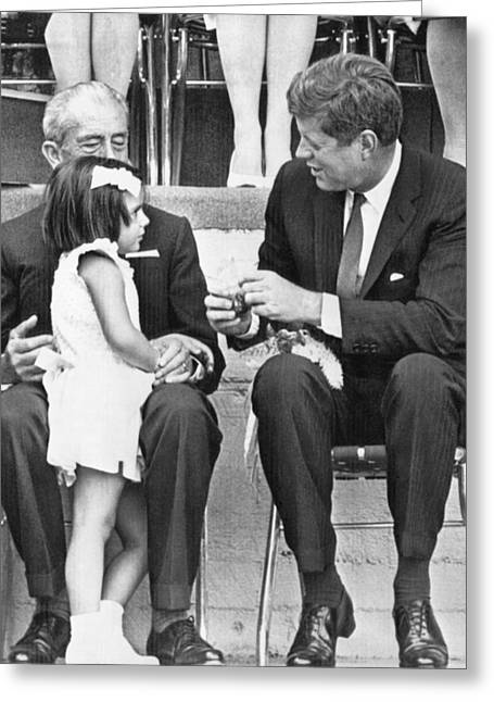Kennedy In Mexico City Greeting Card by Underwood Archives