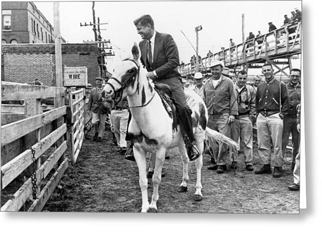 Kennedy Rides A Mule Greeting Card by Underwood Archives