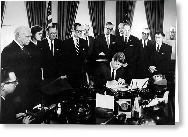 Kennedy Signing The 1962 Drug Amendments Greeting Card by Food & Drug Administration