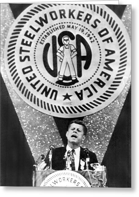 Kennedy Speaks To Steelworkers Greeting Card by Underwood Archives