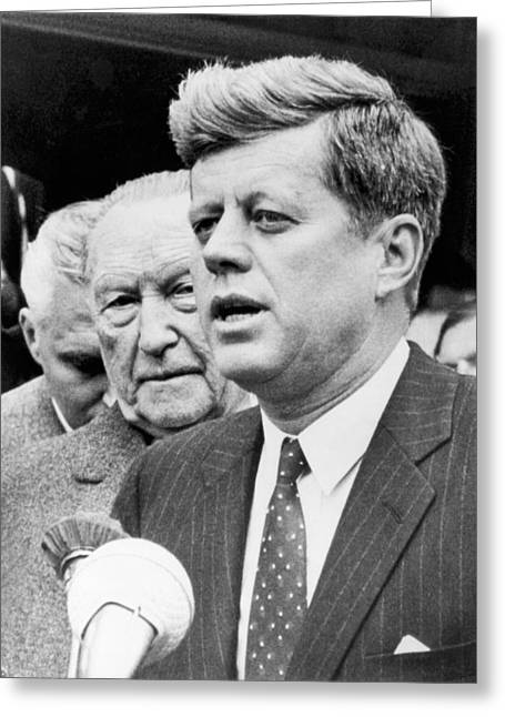 Kennedy With Konrad Adenauer Greeting Card by Underwood Archives