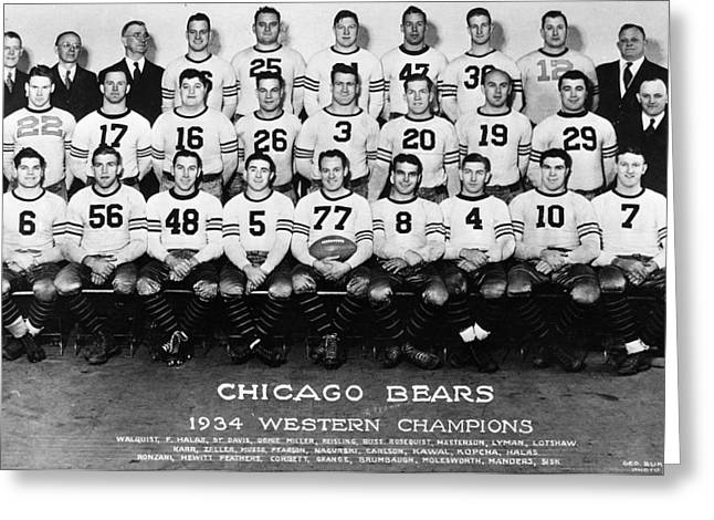 Chicago Bears Of 1934 Greeting Card by Retro Images Archive