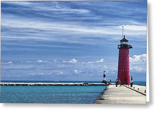 Kenosha North Pier Lighthouse Greeting Card by Joan Carroll