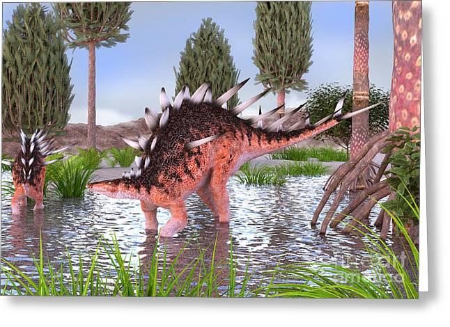 Kentrosaurus Pair In Water Greeting Card