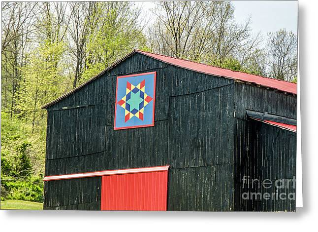Kentucky Barn Quilt - 2 Greeting Card by Mary Carol Story