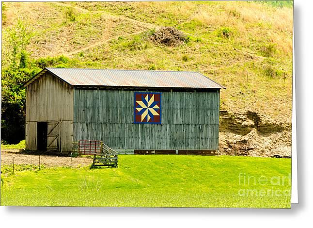 Kentucky Barn Quilt - Americana Star Greeting Card by Mary Carol Story
