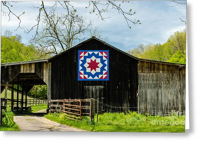 Kentucky Barn Quilt - Carpenters Wheel Greeting Card by Mary Carol Story